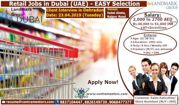 Retail Jobs In Dubai Uae Good Salary Contramentors Services